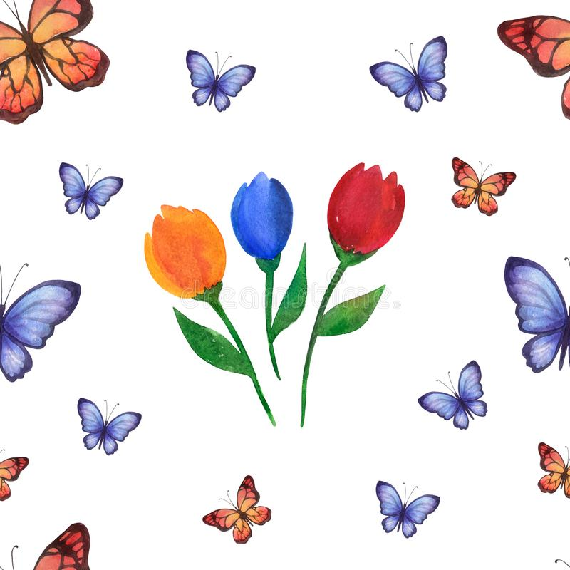 Vattenfärgsommarmodell av handgjort med blommor och fjärilar arkivbild