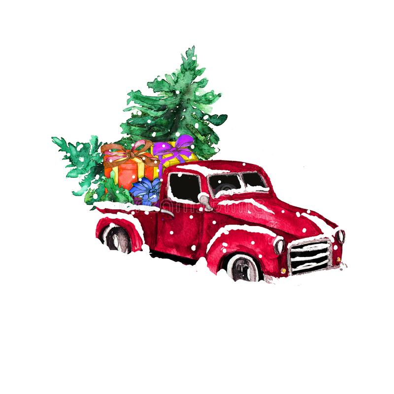 Vattenfärgsritad, konstnärlig, färgstark återgivningsbil med julgranen och presentboxar som är isolerade på vit rygg royaltyfria foton