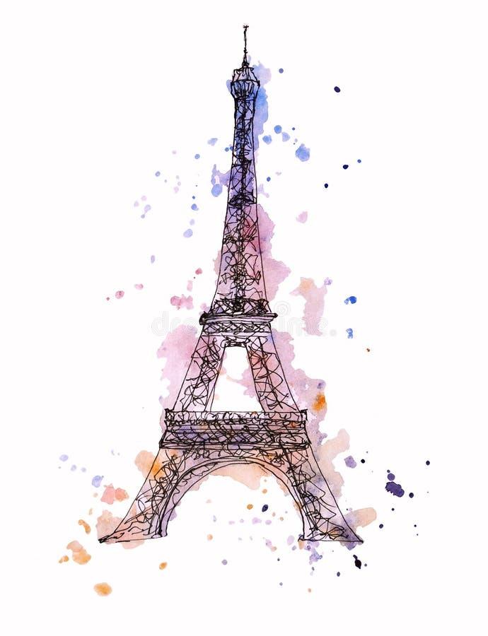 Vattenfärgsskiss för Eiffel Tower Tour Eiffel, Paris, Frankrike stock illustrationer