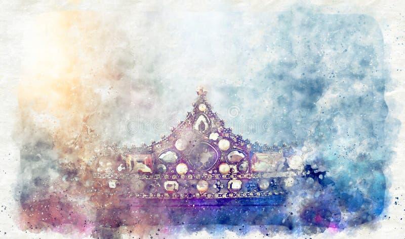 Vattenfärgsstil och abstrakt bild av vacker drottning/kung krona fantastisk medeltida period fotografering för bildbyråer