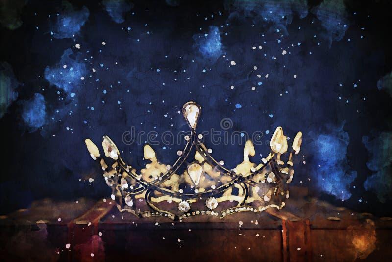 Vattenfärgsstil och abstrakt bild av vacker drottning/kung krona fantastisk medeltida period royaltyfri fotografi