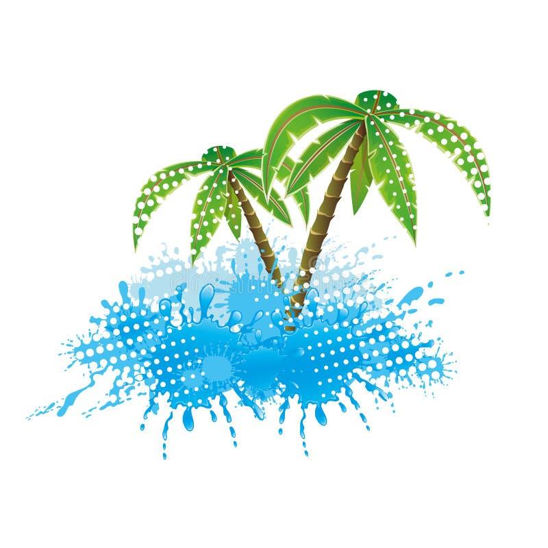 Vattenfärgstänk och palmträd stock illustrationer