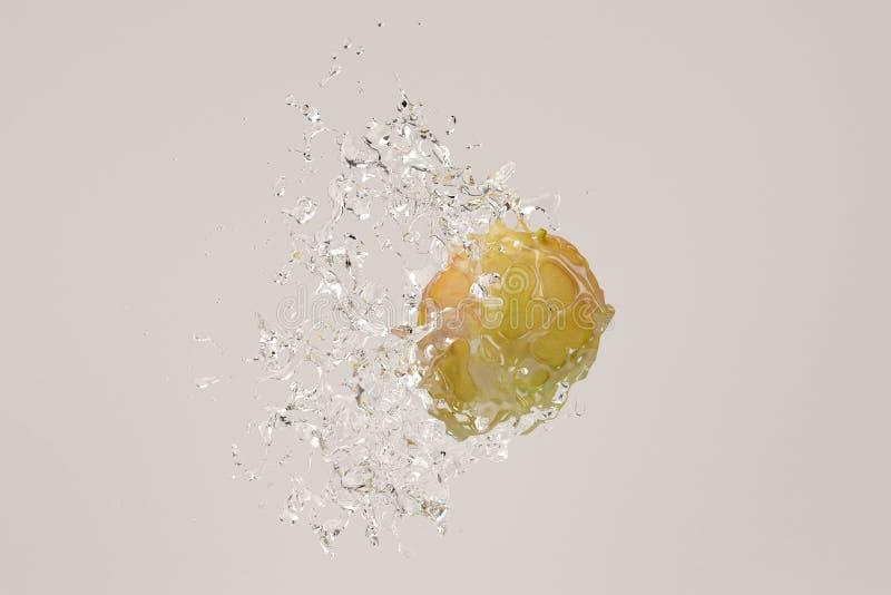 Vattenfärgstänk på den gröna mango illustration 3d royaltyfri illustrationer