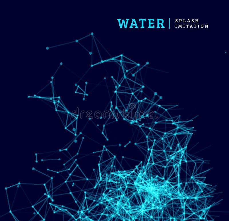 Vattenfärgstänkefterföljd vid pricken och linjen anslutning stock illustrationer