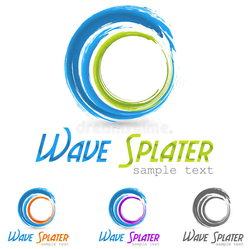Vattenfärgstänklogo vektor illustrationer