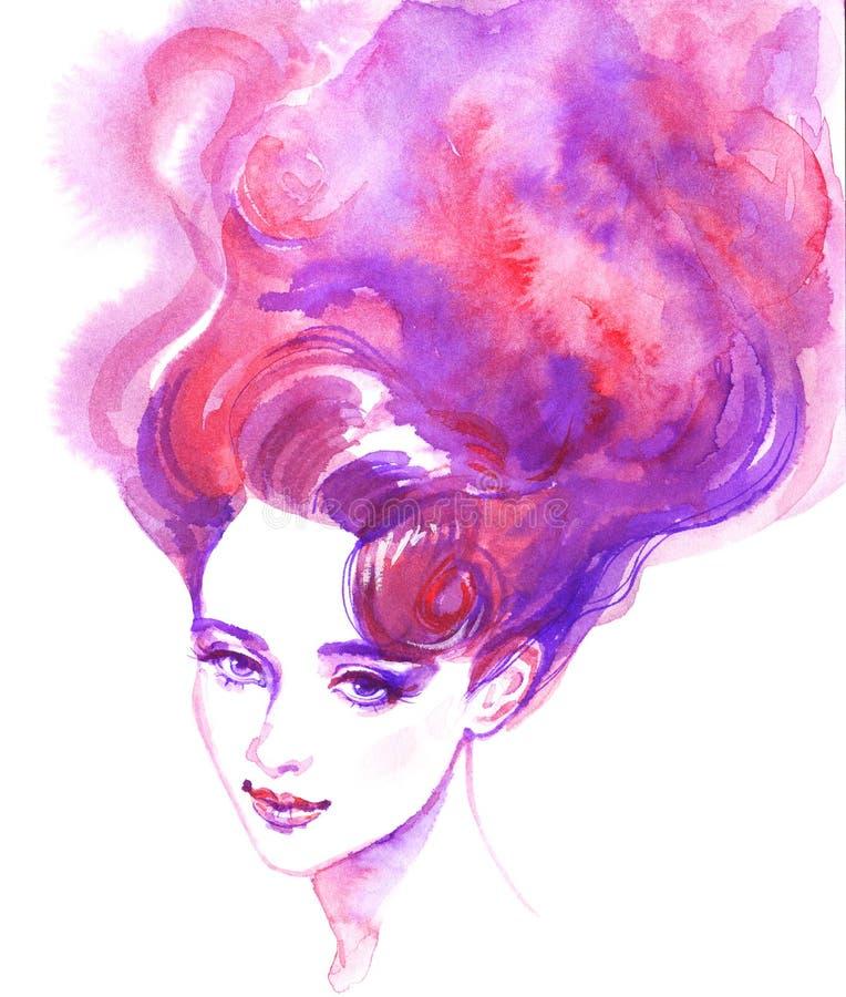 Vattenfärgstående av den härliga kvinnan stock illustrationer