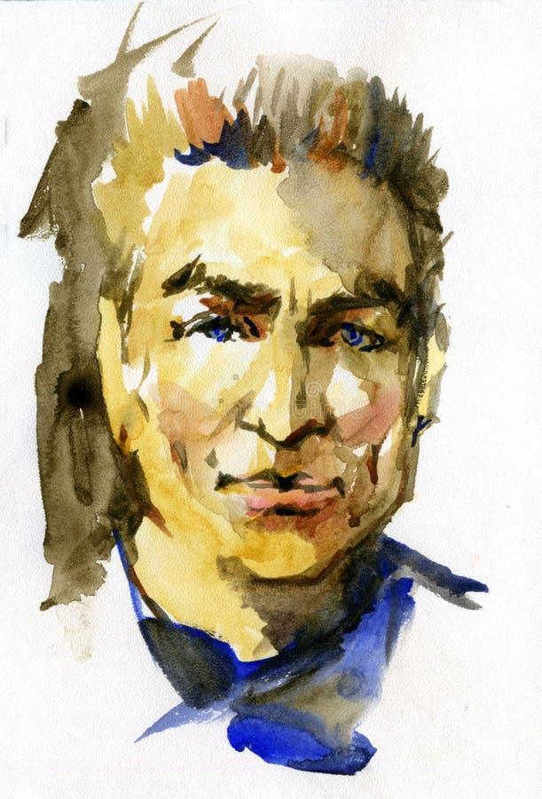 Vattenfärgstående av den unga mannen Hand dragen framsida på vit bakgrund Målningillustration stock illustrationer