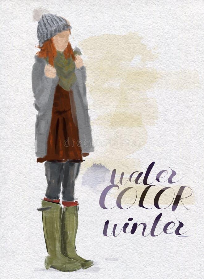 Vattenfärgstående av en ung modern flicka Kvinna i vintermodekläder vektor illustrationer