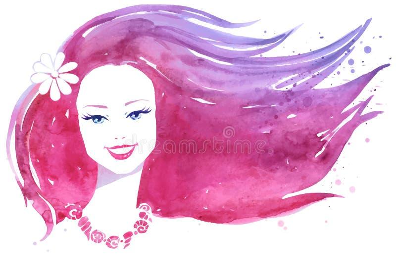 Vattenfärgstående av kvinnan stock illustrationer