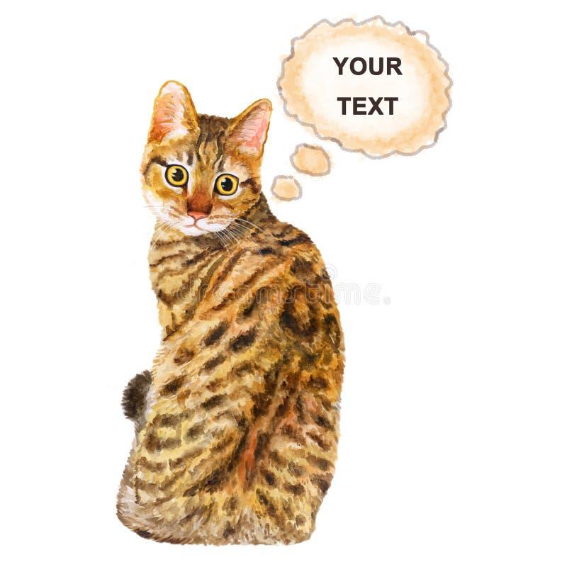 Vattenfärgståenden av Kalifornien Spangled den gulliga katten med prickar, band på vit bakgrund vektor illustrationer