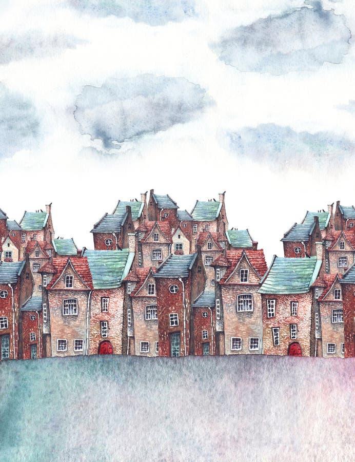 Vattenfärgstad under himlen royaltyfri illustrationer