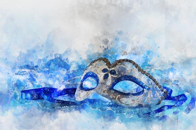 vattenfärgstil och abstrakt bild av elegant venetian, mardigrasmaskering royaltyfri illustrationer