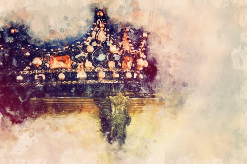 vattenfärgstil och den abstrakta bilden av den härliga drottningen/konungen krönar medeltida period för fantasi stock illustrationer