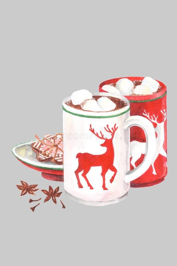 Vattenfärgstilleben med kakao rånar och en platta med ljust rödbrun kakor royaltyfri bild