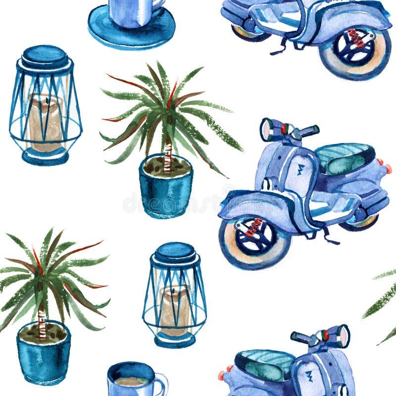 Vattenfärgstrand, affärsföretag, cykel som är mer motorollier, sömlös modell för träd Rolig ferieaktivitet för akvarell, royaltyfri illustrationer