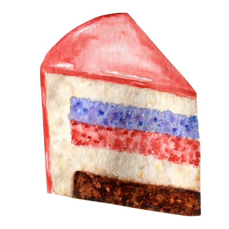 Vattenfärgstycke av den i lager kakan på vit bakgrund Illustration för kaka för hand utdragen isolerad skiva Söt efterrätt med stock illustrationer