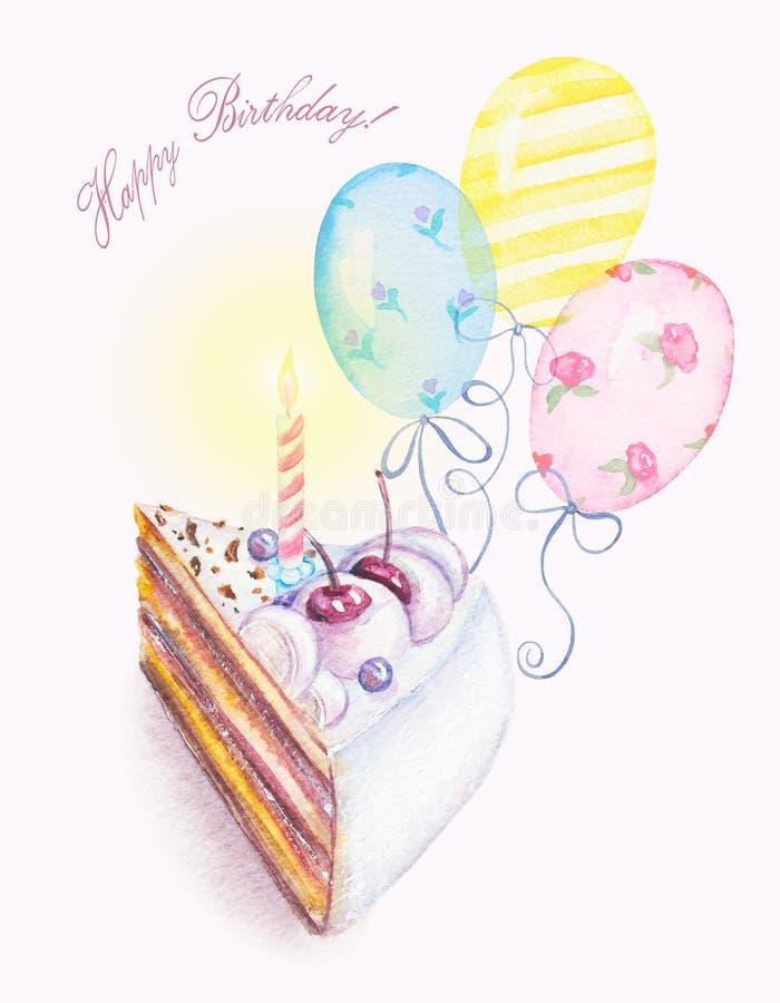 Vattenfärgstycke av kaka, stearinljus och ballonger stock illustrationer