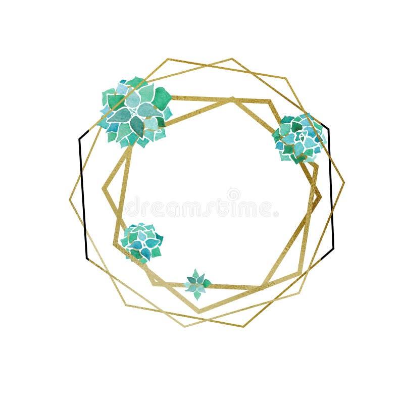 Vattenfärgsuckulenter och guld- sexhörning och geometrisk minimalist ram för poligons royaltyfri illustrationer