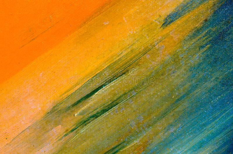 Vattenfärgsudd på kanfasen: apelsin blått, gräsplan royaltyfri foto