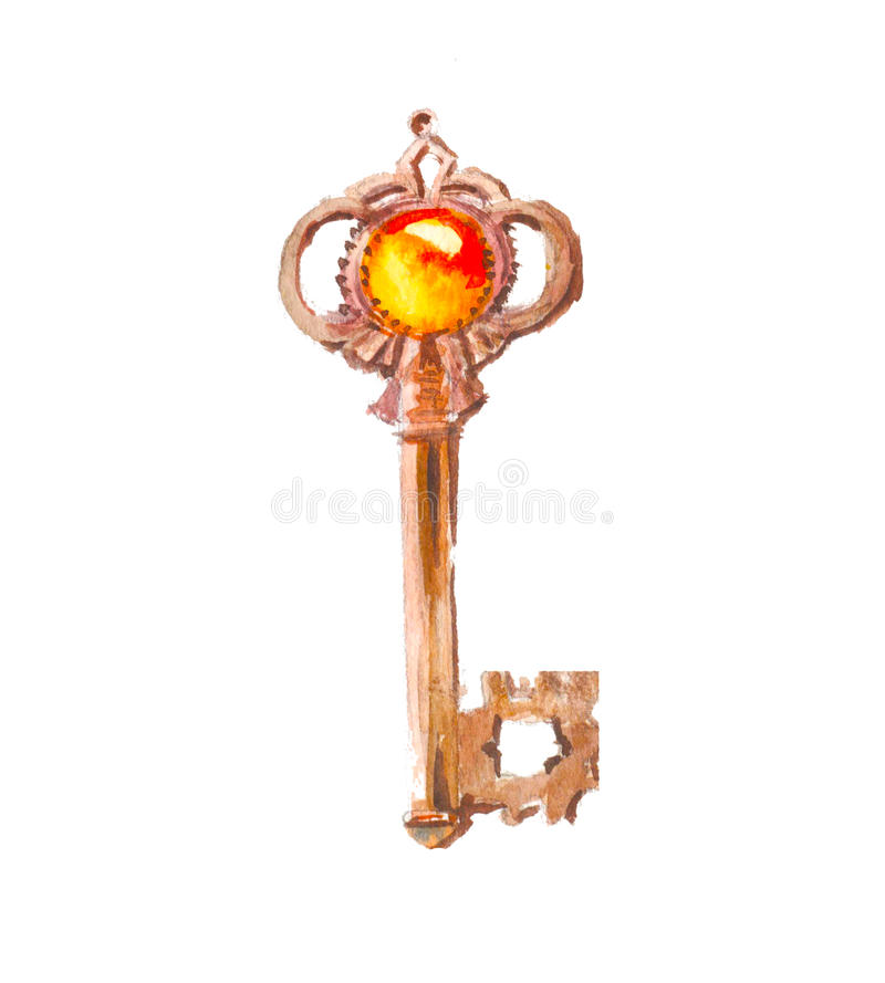 Vattenfärgtangent med den guld- stenen Symbolrikedom vektor illustrationer