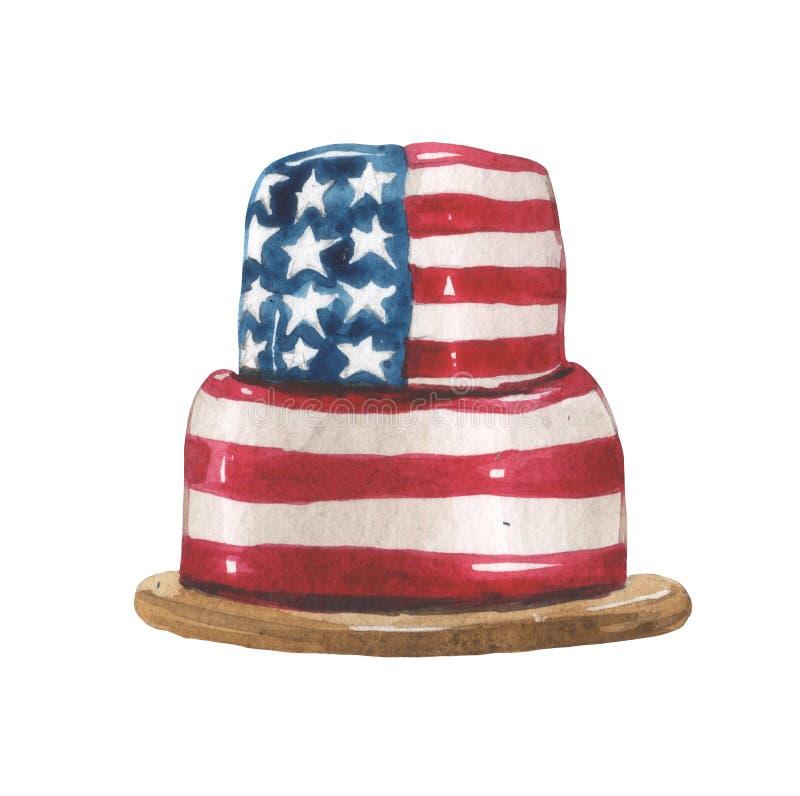 Vattenfärgteckning av en kaka på ett trämagasin i glasyren i färgläggningen i form av USA flaggan stock illustrationer