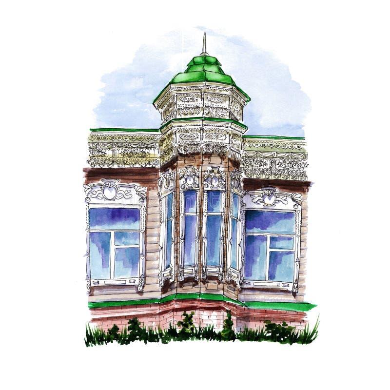 Vattenfärgteckning av en träbyggnad med en kupol och en tornspira royaltyfri illustrationer
