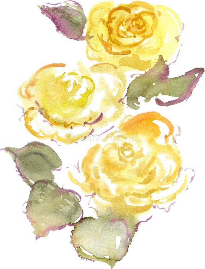 Vattenfärgteckning av tre gulingrosknoppar stock illustrationer