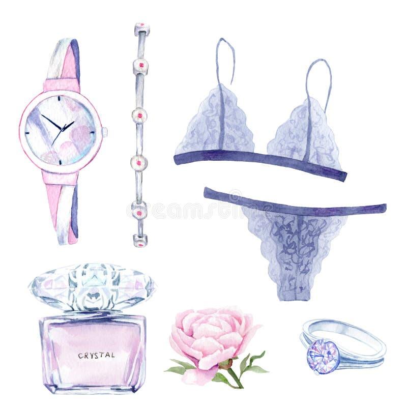 Vattenfärgteckningar: kvinnors saker klockor smycken, linne, pion stock illustrationer