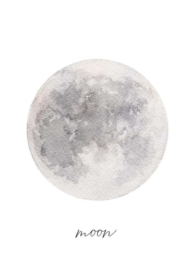 Vattenfärgtextur av fullmånen, hand målade vektorillustrationen stock illustrationer
