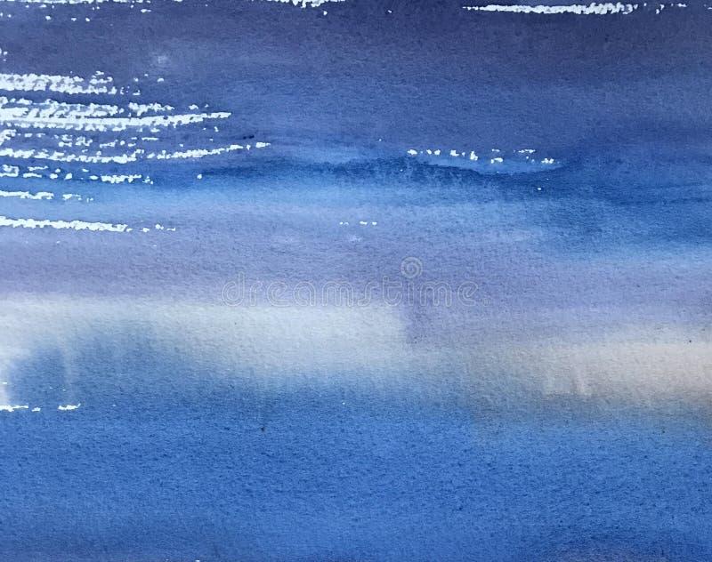 Vattenfärgtextur med blåa band, handmålningbakgrund royaltyfria bilder