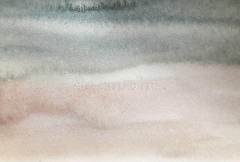 Vattenf?rgtextur med gr?a och bruna band, handm?lningbakgrund royaltyfri bild