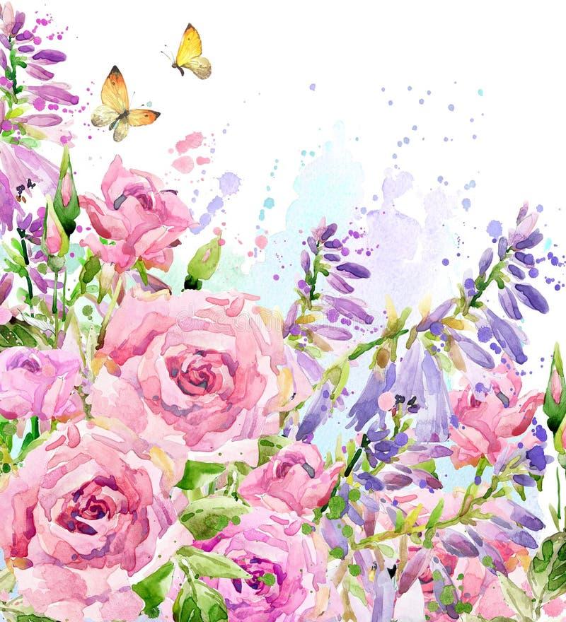 Vattenfärgträdgårdblomma Rosa illustration för vattenfärg Vattenfärgblommabakgrund stock illustrationer