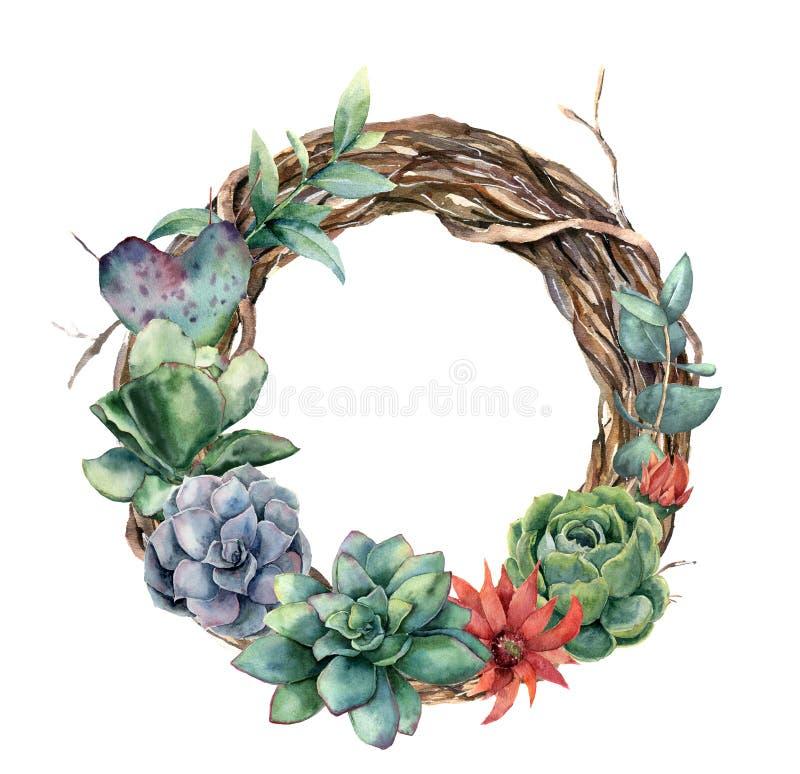 Vattenfärgträdkrans med kaktuns och suckulenten Räcka den målade opuntiaen, echeveriaen, eukalyptussidor med suckulenten royaltyfri illustrationer