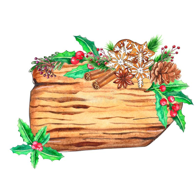 Vattenfärgträskivor med juldekoren stock illustrationer