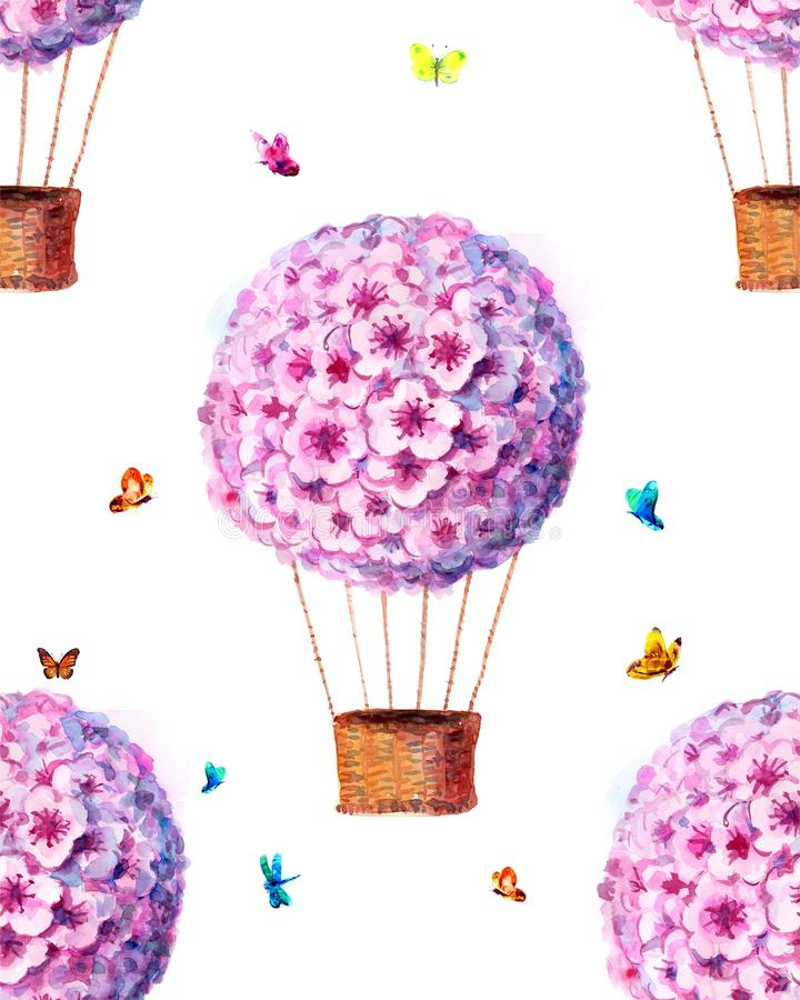 Vattenfärgtryck med purpurfärgade ballonger, Sakura, den rosa ballongen, vattenfärgfläckar och fjärilar Sömlös background2 stock illustrationer