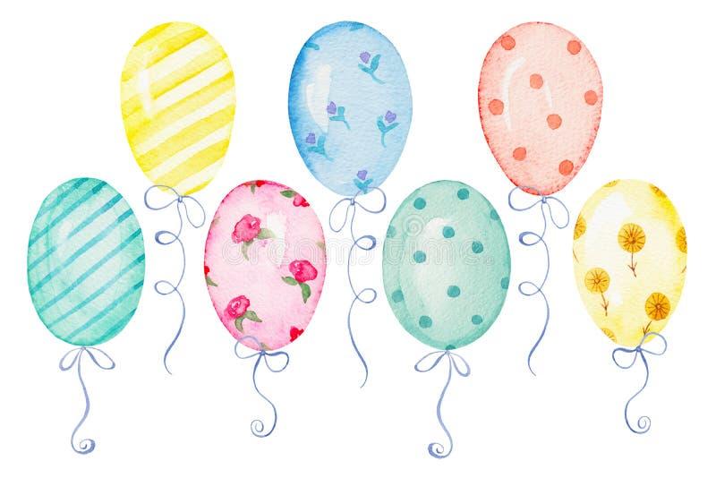Vattenfärguppsättning av ballonger stock illustrationer