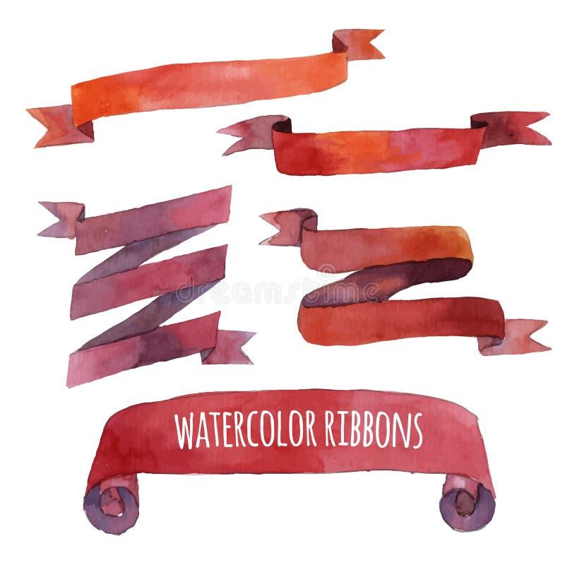 Vattenfärguppsättning av band, baner vektor stock illustrationer