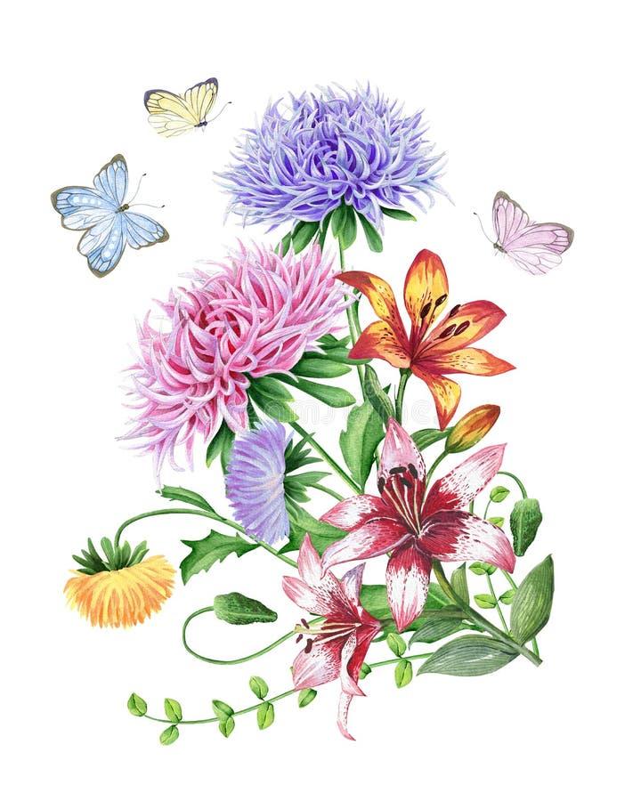 Vattenfärguppsättning av blommor stock illustrationer