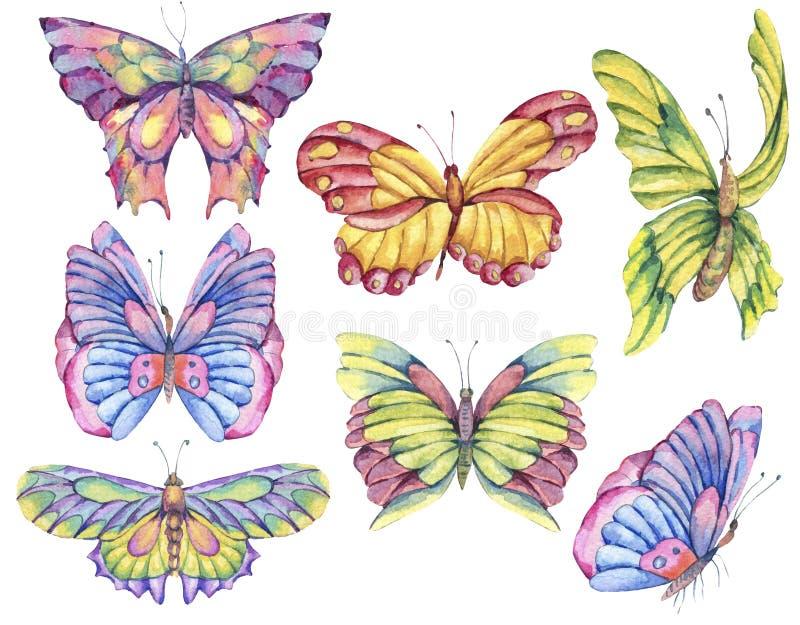 Vattenfärguppsättning av färgrika fjärilar för tappning vektor illustrationer