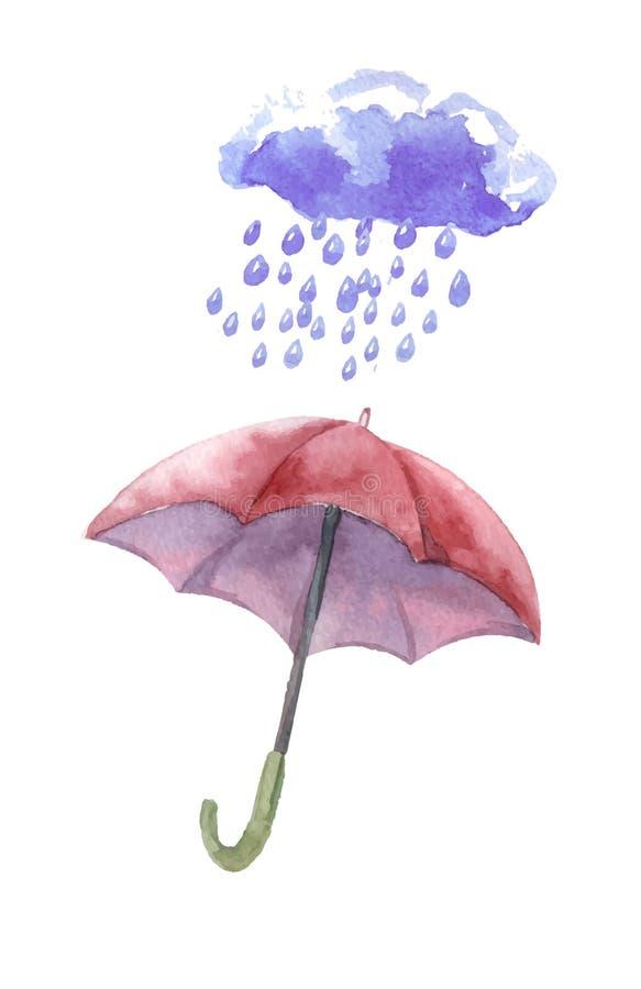 Vattenfärguppsättning av paraplyer, moln, hällregn royaltyfri illustrationer