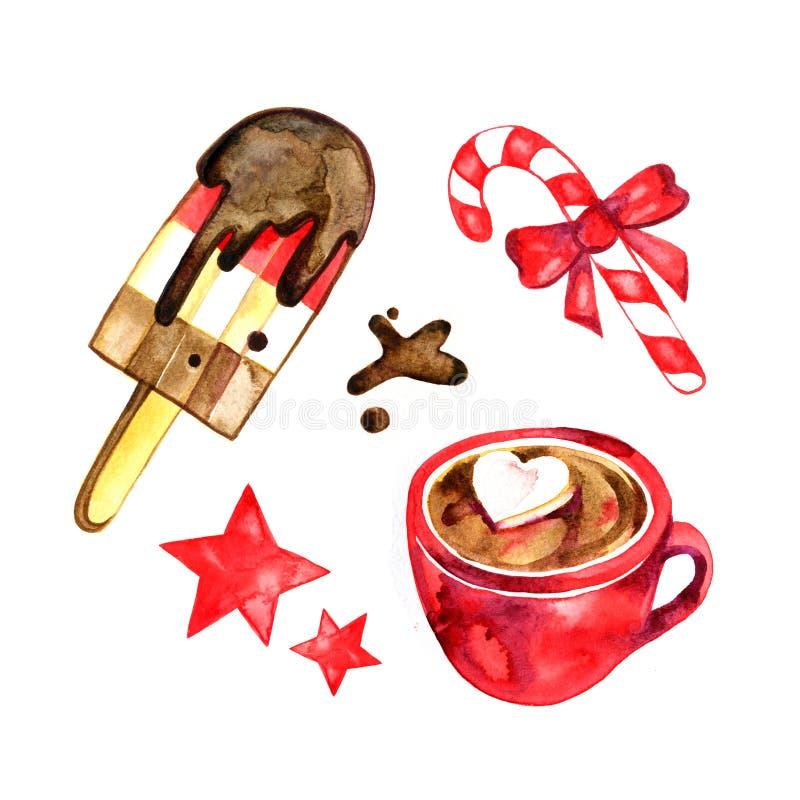 Vattenfärguppsättning av sötsaker för ferie: glass godis, varm choklad Jul royaltyfri illustrationer