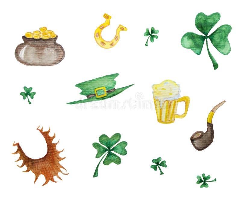 Vattenfärguppsättning av St Patrick s dagbeståndsdelar vektor illustrationer