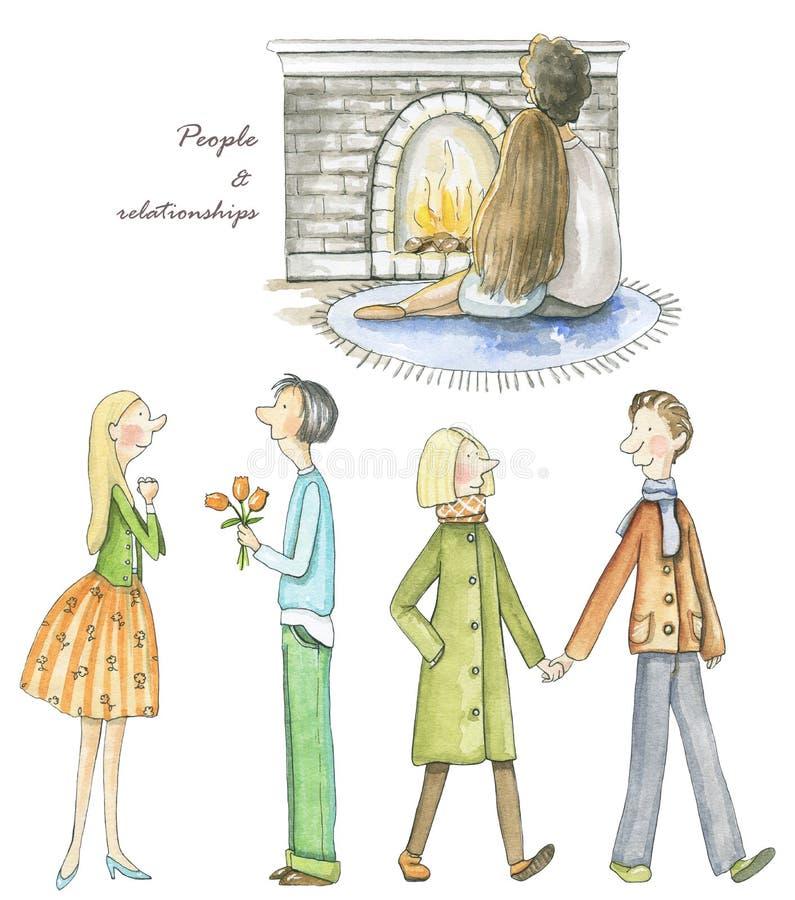 Vattenfärguppsättning av tre par på det första datumet royaltyfri illustrationer