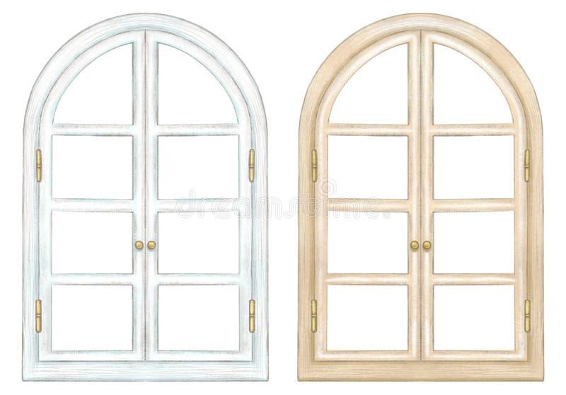 Vattenfärguppsättning av två klassiska bågefönster stock illustrationer