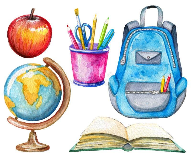 Vattenfärguppsättning med skolämnar stock illustrationer