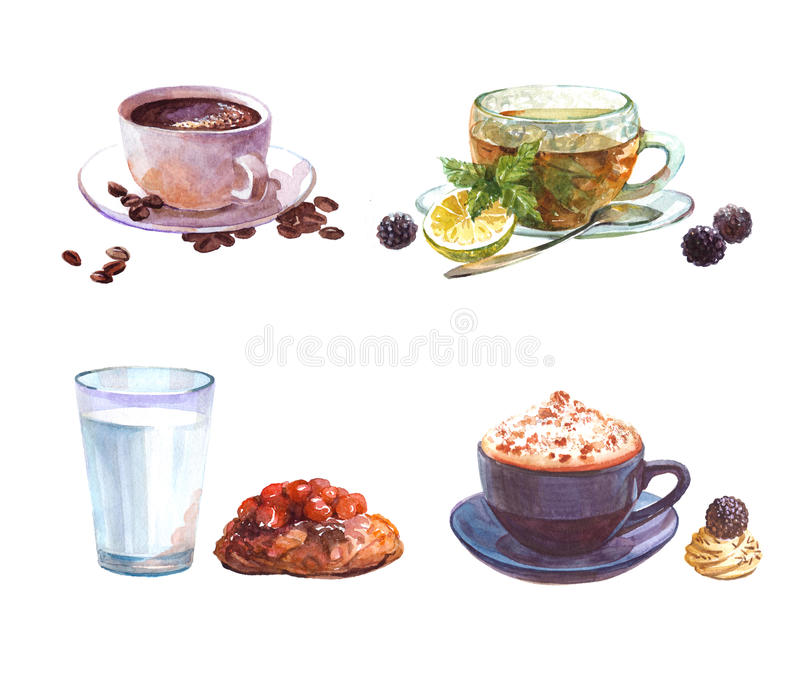 Vattenfärguppsättningen av drinkar med kaffekoppen och kakan, kopp för grönt te, mjölkar exponeringsglas med kakan stock illustrationer