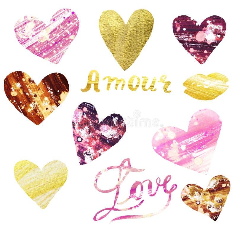 Vattenfärguppsättningen av handen målade rosa och guld- hjärtor Illustration av förälskelsesymboler royaltyfri bild