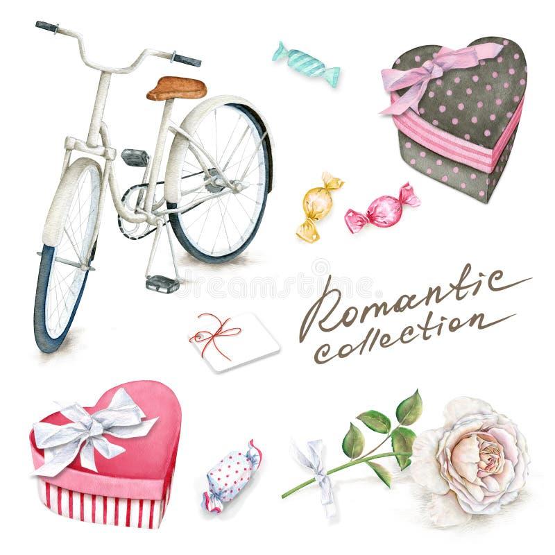 Vattenfärguppsättningen med cykeln, askar, sötsaker och steg vektor illustrationer