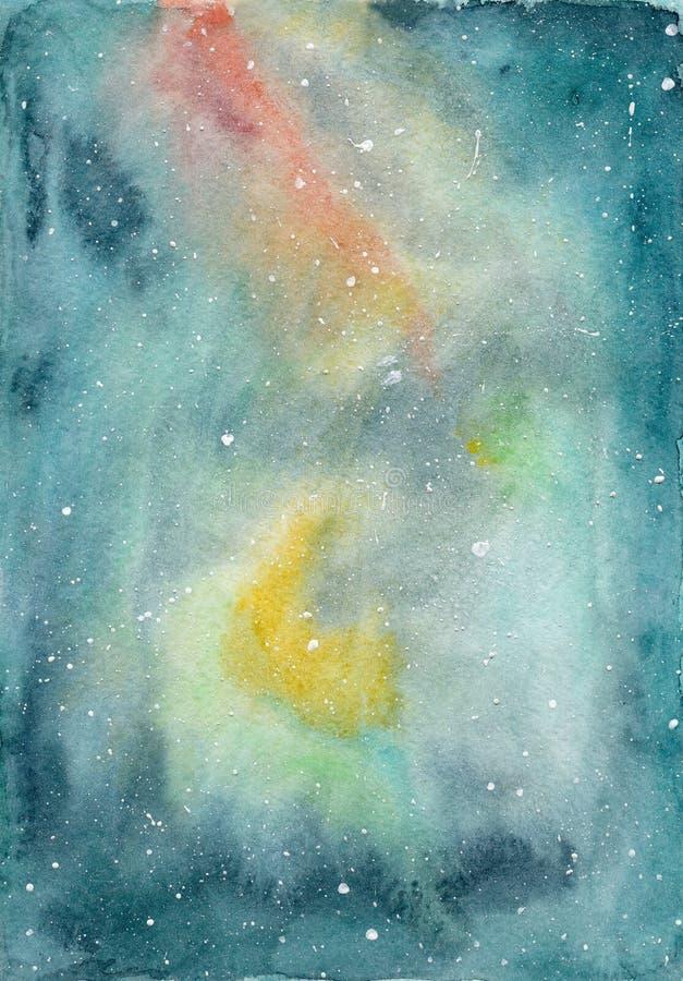 Vattenfärgutrymmebakgrund med den gula, röda, gröna och blåa galaxen och skinande stjärnor stock illustrationer