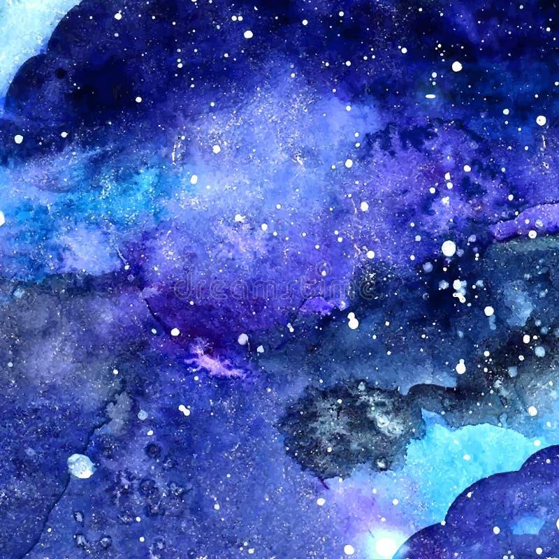Vattenfärgutrymmetextur med glödande stjärnor Stjärnklar himmel för natt med målarfärgslaglängder och swashes också vektor för co royaltyfri illustrationer